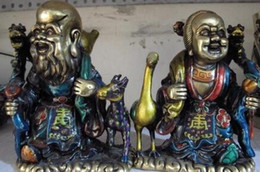china art paint NZ - China White Copper Painted Longevity father-in-law mother-in-law God Statue Pair
