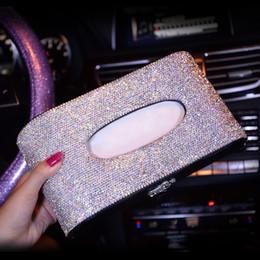 Blocks For Girls Australia - Luxury Leather Car Tissue Box Cover Crystal Rhinestone Block Paper Storage Box Swan Crown Car Accessories For Women Girls