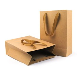 Paper Gift Bags Handles Christmas UK - Natural Kraft Paper Bag with Handle Thick Paper Gift Bags Wedding Party Favor Christmas New Year Shopping Package Bags
