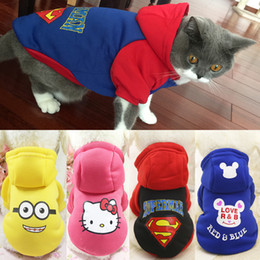 Wholesale Cartoon Cat Hoodie Sweater Winter Warm Pet Cat Clothes for Small Cats Cotton Kitten Coat Jacket Costumes Clothing Pet Outfit