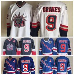 Vintage New York Rangers 75th Anniversary Hockey Jerseys Adam Graves Blue  Vintage CCM Mens 9 Adam Graves Stitched Jerseys A Patch S-3XL 8b46ccba6