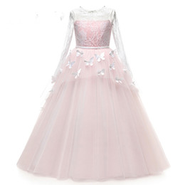 $enCountryForm.capitalKeyWord UK - Pretty Flower Girl Pageant Dresses 2019 Butterfly Train Kids Graduation Gowns Tulle Lace Long Sleeves Holy Communion Dresses
