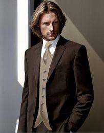$enCountryForm.capitalKeyWord Canada - High Quality Groom Tuxedos Two Button Chocolate Brown Notch Lapel Groomsmen Best Man Suit Wedding Mens Suits (Jacket+Pants+Vest+Tie) J229