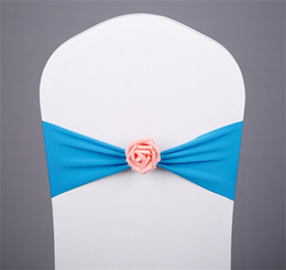 Ties chairs online shopping - Wedding Banquet Chairback Decoration Buckle Elastic Force Hoop Band Chairs Back Sash Flower Exempting Tie Bow Multicolor Optional hm Y