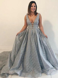Red white dinneR gowns online shopping - Silver Grey Prom Dresses Unique Lace V Neck Beaded Waist A Line Sweep Train Elegant Evening Party Gowns For Special Occasions Women s Dinner