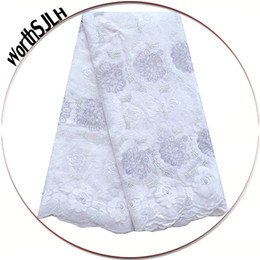 Wholesale white cotton voile resale online - White Nigerian Lace Fabric High Quality Swiss Voile Lace Material With Stones Aqua Cotton African Lace Fabric For Men