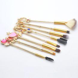 Magic Handle NZ - Fashion Beauty Magic Wand Makeup Brush 8 piece Set Metal Handle Makeup Brush Makeupes Beauty Makeup Tools Support Wholesale