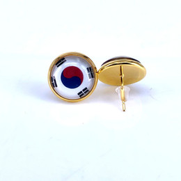 studs 12mm NZ - 2018 National Flag Stud Earring Germany Belgium united kingdom Poland Serbia Flag Earring 12mm Glass Gem Cabochon Copper Jewelry B18125-1