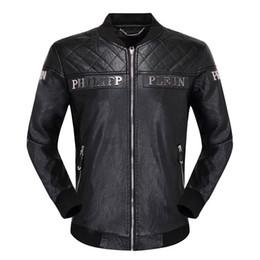 Großhandel Neue Casual Winter Männer Lederjacke Mode Brief Hip Hop # 1069 Männer PU Langarm Leder Motorrad Männlich Jacken Mantel