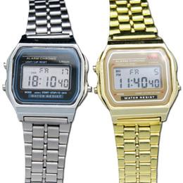 8eedc5c8c 2018 Fashion F-91 WR Women Men LED Watch Ultra-thin Gold Silver Wristband  Led Sports Watches Multifunction Metal Electronic Watch