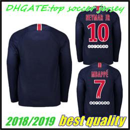 ce8e359a9 PSG Home long sleeve Soccer Jerseys 2018 2019  7 MBAPPE Paris Saint-Germain  Soccer Shirt  10 JR  23 DRAXLER Football Uniform 2019