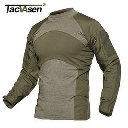 Green T Shirt NZ - TACVASEN Men Summer Tactical T-shirt Army Green Combat T Shirts Men Long Sleeve Shirt Rip-stop Hunt Paintball Clothing