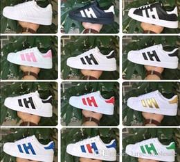 Discount canvas shoes black white colour - Big size EU36-46 Originals Men's Shoes For Women's Shoes White Shoe Laser Dazzle Colour Superstar Shell Head c