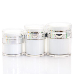 Acrylic cosmetic jAr white online shopping - 15 G Pearl White Acrylic Airless Jar Cream Jar With Silver Collar ML Cosmetic Vacuum Lotion Jar Pump Bottle