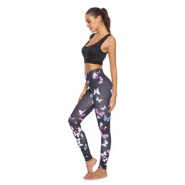 $enCountryForm.capitalKeyWord UK - Ladies Butterfly Print Yoga Pants Long Sports Leggings Female push up tights Yoga leggings movement Fitness exercise S-NEW