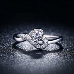 Cz Heart Cluster Ring Australia - whole saleSHUANGR Classic Fashion Wedding Heart Silver Color Rings CZ Zircon Jewelry for Women bijouterie Bijoux engagement bague