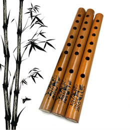 wholesale flute musical instruments Canada - 1PC Chinese Traditional 6 Hole Bamboo Flute Vertical Flute Clarinet Student Musical Instrument Wood Color 24CM