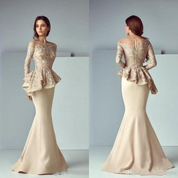 2019 New Arrival Champagne Mermaid Mother of Bride Dresses Lace Applique Floor Length Ruffles Long Sleeves Formal Dresses Evening Plus Size from janique long sleeves gown manufacturers