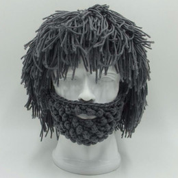 Cool Winter Beanies For Men NZ - BBYES Cool Gifts Beard Hats Handmade Knit Warm Caps Halloween Funny Party Beanies for Mad Scientist Caveman Men Women New Winter S1020