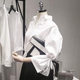 Wholesale blouse women basic online – New Women Casual Basic Summer Autumn Blouse Top Shirt White Work Wear Bandage Loose Big Size