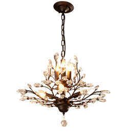 mounted art UK - American country style led chandelier light fixtures iron crystal pendant lights 4+3 heads black bronze chandeliers indoor home decor