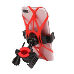 Wholesale Universal Bike Bicycle Motorcycle Handlebar Mount Holder Phone Holder With Silicone Support Band For Iphone X plus Samsung s7 s8 edge DHL