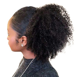 $enCountryForm.capitalKeyWord Australia - 4B 4C Afro Kinky Curly Ponytails natural puff Clip In 100% Human Hair brazilian virgin Hair Products Remy Hair Natural Color 120g