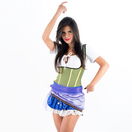 Short Dress Costumes NZ - Carnival Sexy Caribbean Pirates Costume For Women Short Sleeve Halloween Theme Stage Show Cosplay Fancy Dress