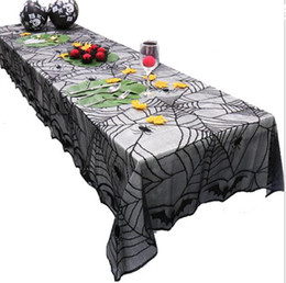 Chinese  Celebrate Halloween Black Lace Spider Web Tablecloth Oblong Table Cloth Table Cover Table Decor Party Decoration Fireplace Cover 96inch manufacturers