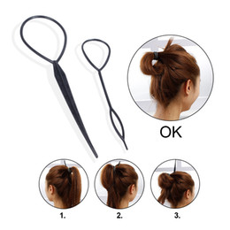 braiding kit UK - 2 PCS Hair Braid Topsy Twist Styling Loop Ponytail Maker Styling Tool French Braid Tool Topsy Tail Loop Hair Kit