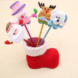 Discount santa pens - Christmas Santa Claus Crutches Style Ballpoint Pen Cartoon Snowman Deer Bear Gifts High Grade Office School Supplies 1 1