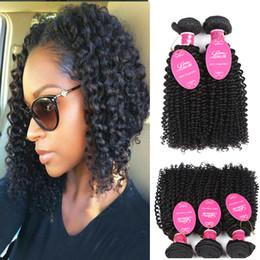 Afro Human Hair Weave Australia - Wholseale Grade 8A Brazialin Virgin Human Hair 3 Bundles Kinky Deep Curly Weave Hair Wefts Brazilian Afro Kinky Curly Weaves Natural Color