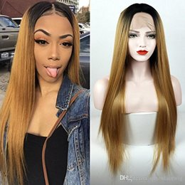 $enCountryForm.capitalKeyWord Australia - Long Silky Straight Black Roots Ombre wig blonde Synthetic Wigs Heat Resistant Fiber For Black Women 1BT27#30# Lace Front Wig