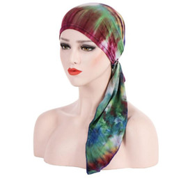 Chinese  2018 New Women printing Turban Hat India Cap Muslims Chemo Cap Chemotherapy Bonnet Hat for Ladies Muslim Hair Loss Head Scarf manufacturers