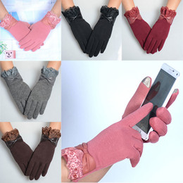 touch screen wrist Australia - 1Pair Fashion Women Winter Lace Bow Gloves Phone Touch Screen Outdoor Wrist Mittens Warm Female Gloves -MX8 S1025
