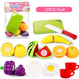 fruit cutting toy for kids Canada - WholeSale Price 11PC Cutting Fruit Vegetable Pretend Play Children Kid Educational Toy Kitchen Play toys for children