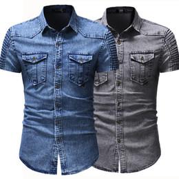 81f2de371 2018 New Men s Denim Shirts Brand Leisure Cowboy style Summer cotton short  sleeve denim shirt camisa jeans masculina slim fit 3XL