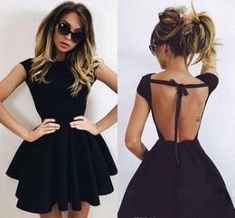 ruffled semi dresses 2019 - 2018 Cheap Little Black Cocktail Dress A Line Jewel Neck Short Mini Semi Club Wear Homecoming Party Gown Plus Size Custo