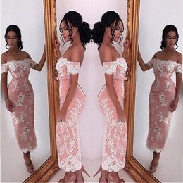 389c52928a4 2018 Sheath Mini Lace Cocktail Dresses Sexy Off Shoulder Appliques Fitted  Tea Length Short Prom Dress Evening Gowns Mother Dress