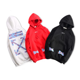 $enCountryForm.capitalKeyWord NZ - hoodies coat 2018 Europe and the United States latest listing white red and black geometric pattern decoration cotton long sleeves