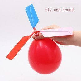 wholesale toys helicopter NZ - 200pcs lot flying Balloon Helicopter DIY balloon airplane Toy children Toy self-combined Balloon Helicopter free shipping