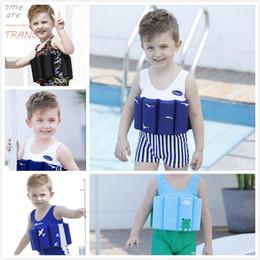Boy Swimwear Piece Canada - 2018 New Boys Cool Striped Solid Color One-piece Buoyancy Swimsuit with 8 Removeable Buoyancy Cotton Swabs Children's Swimwear Baby Swimwear