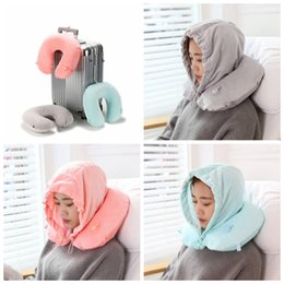 Hat bodies online shopping - U Shaped Inflatable Pillow with Hat Travel Accessories Bedding Body Pillows With Cap For Men Women Portable Pillow LJJI08