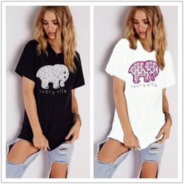 23f6bef161d2 2pcs Creative fashion simple animal European style ivory Ella women's short-sleeved  T-shirt cartoon elephant print T-shirt top