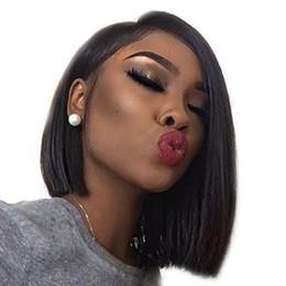 light hair 2019 - Lace Frontal Straight Human Hair Wigs Short Bobo Wigs 8-14inch Brazilain Virgin Straight Dark Brown Swiss Lace Frontal S