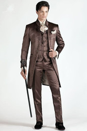 Royal Performance Suits Australia - Brown Embroidery Slim Fit Men Suit For Prom Stage Performance Tuxedos Style Groom Wedding Mens Suits Blazers (Jacket+Pants+Vest)