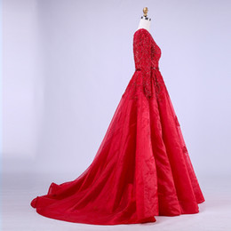 sheer sleeved prom dresses Canada - 2020 Free Shipping High-Quality New Kind Shooting In Red Long Formal Party Evening Dresses Long-Sleeved Lace Bead Ball Prom Dresses HY041