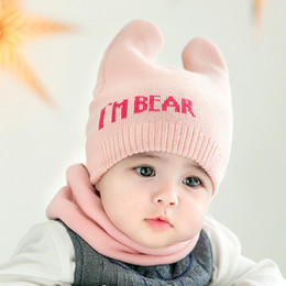 4 Colors Cute Newborn Baby Beanies Hat Scarves - Bear Knitted Warm Hat  Scarf Set - Infant Cap Protects Ear Baby Winter Caps + Scarf f948abd7126
