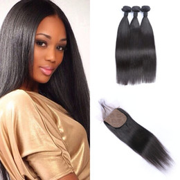 Discount silk hair closure color - Malaysian Straight Hair Weave Bundles With Silk Base Closure 4pcs Lot Virgin Human Hair Extensions 8-30inch