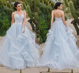 $enCountryForm.capitalKeyWord UK - 2019 Eye-catching Silver Blue Ball Gown Evening Dresses Sweetheart Pleated Tulle Tiered Skirt Corset Custom Made Floor Length Prom Dresses